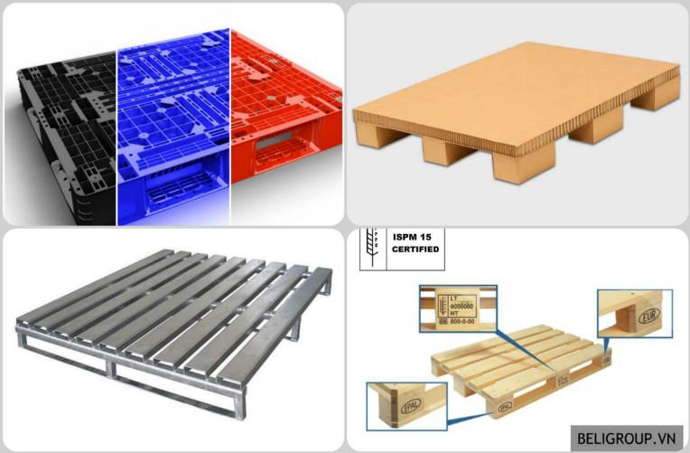 có 4 loại dạng vật liệu sản xuất pallet - nhựa, gỗ, giấy, sắt