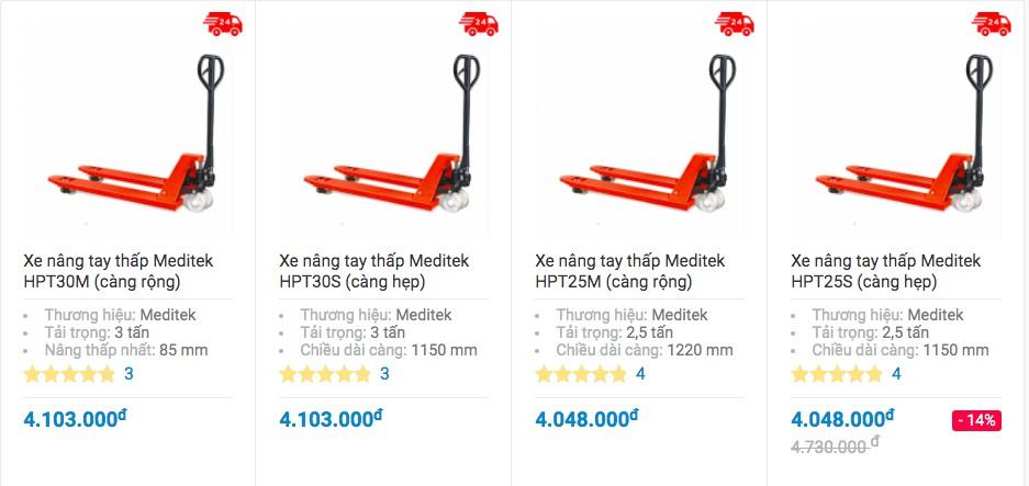 Bảng giá và 4 mẫu xe nâng tay 2.5 tấn