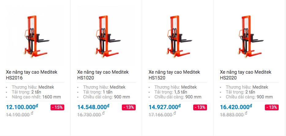Giá 4 loại xe nâng cao tay dùng cho pallet