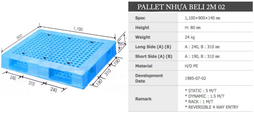 HÌnh Pallet nhựa Beli 2m 02