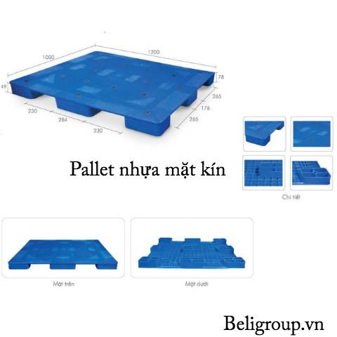 Hình các bên pallet nhựa mặt kín màu xanh