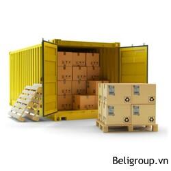 pallet gỗ xuất khẩu đi trên container