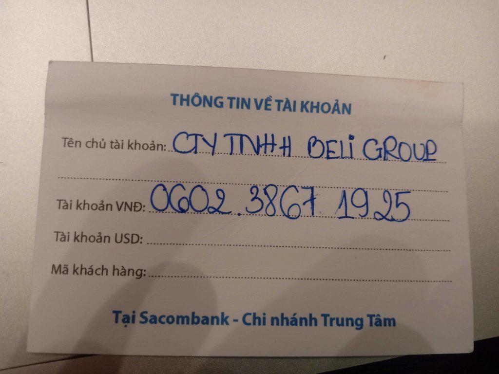 Số tài khoản ngân hàng công ty beli group tịa ngân hàng sacombank quận tân phú