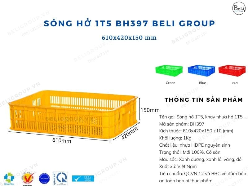 Khay nhựa hở 1T BH397 Beli Group